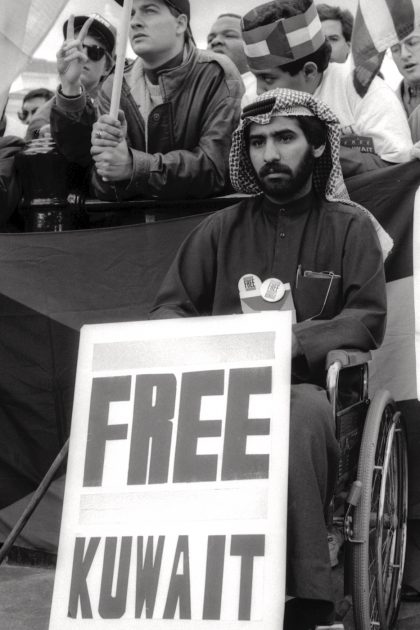 Demo against Saddam Hussein's invasion of Kuwait. 1990