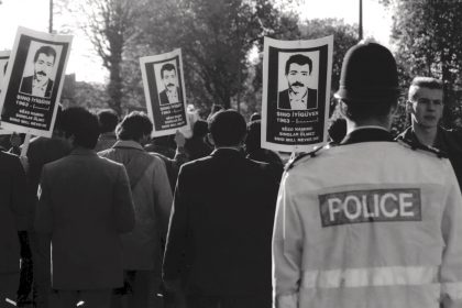 Funeral of Kurdish refugee Siho Iyiguven . Hackney 1990