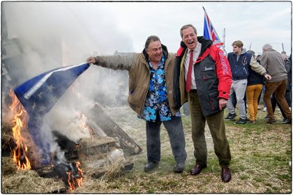 Nigel Farage enjoys EU Flag and boat burning on Whitstable Beach.