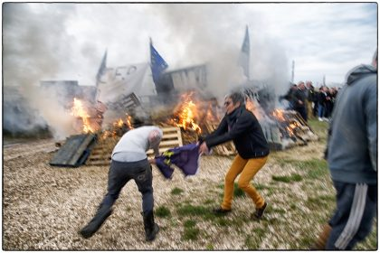 Fighting over the EU flag, Whitstable -Gerry Atkinson
