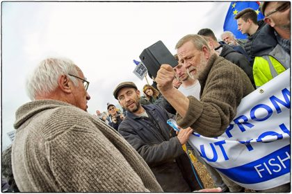 EU Supporters and Fishermen clash. Whitstable- G. Atkinson