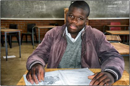 Pupil at Intsebenziswano Secondary School, Philippi.