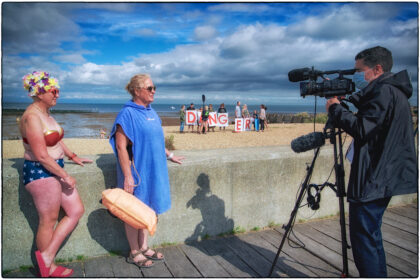 Protest at Whitstable Beach over WOFC Trestles - Gerry Atkinson